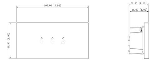 Wymiary modułu wskaźnika LED (mm [cale]).