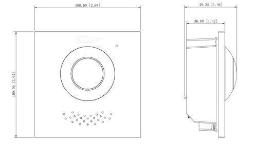 Wymiary modułu kamery (mm [cale]).