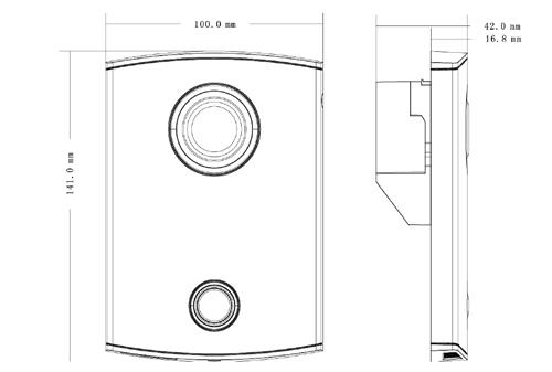 VTO6000CM - Wymiary panelu bramowego Dahua (mm).