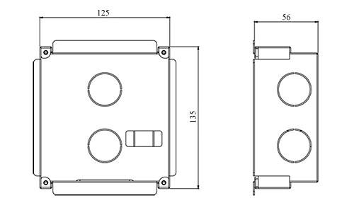 Wymiary osłony montażowej Dahua VTOB107