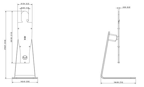 Wymiary uchwytu biurkowego (mm [cale]).