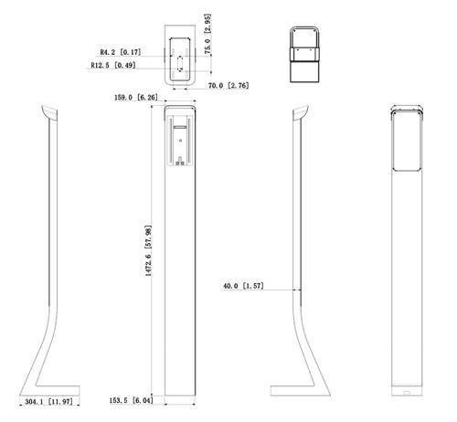 Wymiary stojaka podłogowego (mm [cale]).