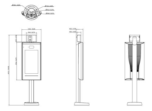 Wymiary terminala kontroli temperatury Dahua podane w milimetrach.