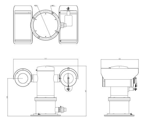 Wymiary kamery IP PTZ Dahua w obudowie antywybuchowej (mm).