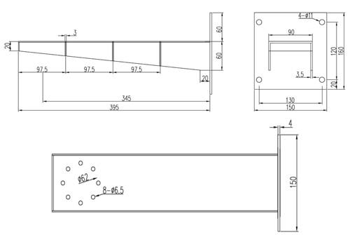 Wymiary uchwytu ściennego EX (mm).