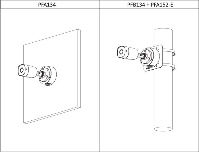 Przykłady instalacji kamery Dahua z uchwytami.