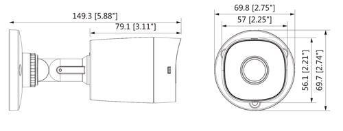 Wymiary kamery 4w1 Dahua podane w milimetrach i calach.