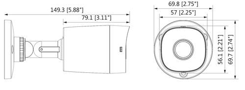 Wymiary kamery Dahua podane w milimetrach i calach.