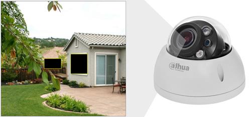 DH-HAC-HDBW2501R-Z-27135 - Przykładowe zastosowanie stref prywatności w kamerze Dahua.