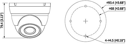 DH-HAC-HDW1200M - Wymiary kamery Dahua (mm [cale]).