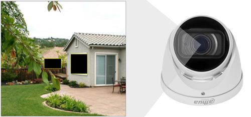 DH-HAC-HDW1200T-Z-2712 - Przykładowe zastosowanie stref prywatności w kamerze Dahua.