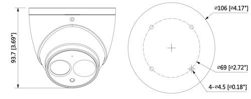 DH-HAC-HDW2221EMP-A - Wymiary kamery Dahua (mm [cale]).