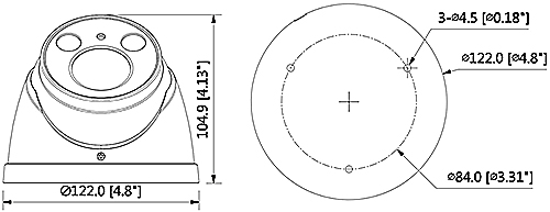 DH-HAC-HDW2401RP-Z-27135 - Wymiary kamery Dahua (mm [cale]).