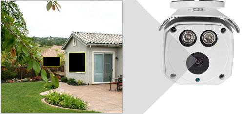 DH-HAC-HFW1500D-0360B - Przykładowe zastosowanie stref prywatności w kamerze Dahua.