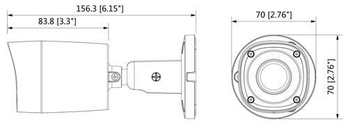 DH-HAC-HFW1220RMP - Wymiary kamery Dahua (mm [cale]).