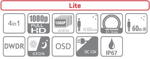 DH-HAC-HFW1200R-Z-IRE6-2712 - Ikonki specyfikacji kamery.