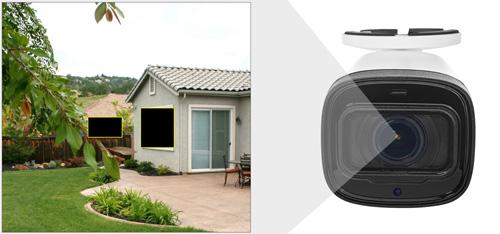DH-HAC-HFW1400R-Z-IRE6-2712 - Przykładowe zastosowanie stref prywatności w kamerze Dahua.