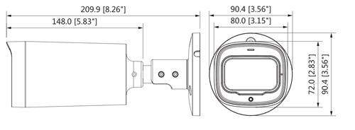 DH-HAC-HFW1500R-Z-IRE6-A-2712 - Wymiary kamery Dahua (mm [cale]).