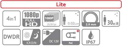 DH-HAC-HFW1200S-0280B / DH-HAC-HFW1200S-POC-0280B - Ikonki specyfikacji kamery.