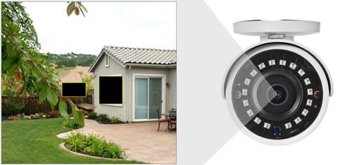 DH-HAC-HFW1200S-0280B / DH-HAC-HFW1200S-POC-0280B - Przykładowe zastosowanie stref prywatności w kamerze Dahua.