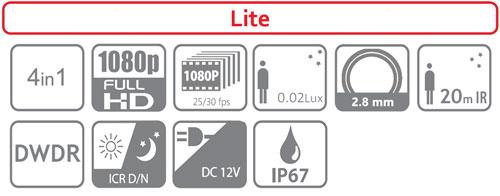 DH-HAC-HFW1200TP-0280B / DH-HAC-HFW1200TP-0280B-BLACK - Ikonki specyfikacji kamery.