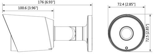DH-HAC-HFW1200TP - Wymiary kamery Dahua (mm [cale]).
