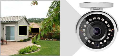 DH-HAC-HFW1400S-0280B / DH-HAC-HFW1400S-POC-0280B - Przykładowe zastosowanie stref prywatności w kamerze Dahua.