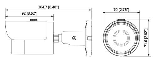 DH-HAC-HFW1400S-0280B / DH-HAC-HFW1400S-POC-0280B - Wymiary kamery Dahua (mm [cale]).