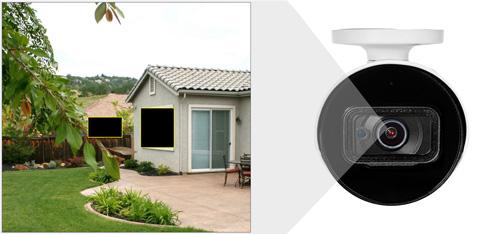 DH-HAC-HFW1500T / DH-HAC-HFW1500T-A - Przykładowe zastosowanie stref prywatności w kamerze Dahua.