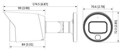 Wymiary kamery 4w1 Dahua Full-Color podane w milimetrach i calach.
