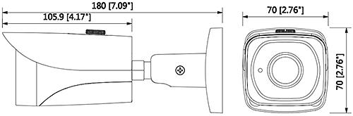 DH-HAC-HFW2221E-0360B - Wymiary kamery Dahua (mm [cale]).