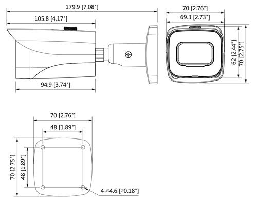 DH-HAC-HFW2241E-A-0360B - Wymiary kamery Dahua (mm [cale]).