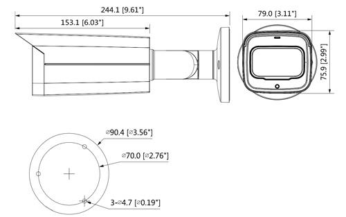 HAC-HFW2501T-Z-A-27135 - Wymiary kamery Dahua (mm [cale]).