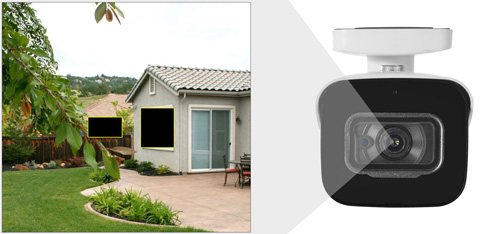 DH-HAC-HFW2501E-A-0360B - Przykładowe zastosowanie stref prywatności w kamerze Dahua.