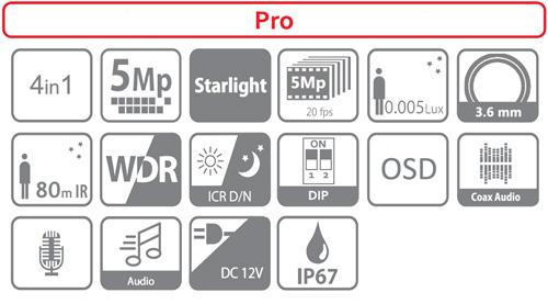 DH-HAC-HFW2501T-I8-A - Ikonki specyfikacji kamery.