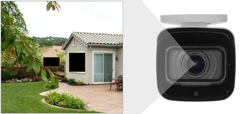 DH-HAC-HFW2501T-Z-A-27135 - Przykładowe zastosowanie stref prywatności w kamerze Dahua.