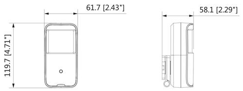 Wymiary kamery 4w1 PIR Dahua podane w milimetrach i calach.