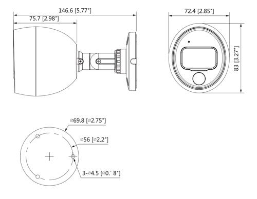 Wymiary kamery Dahua (mm [cale]).