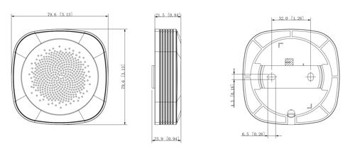 Wymiary modułu audio (mm [cale]).