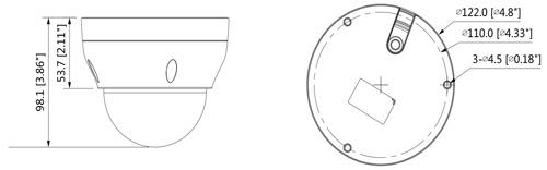 Wymiary kamery IPC Cooper (mm [cale]).
