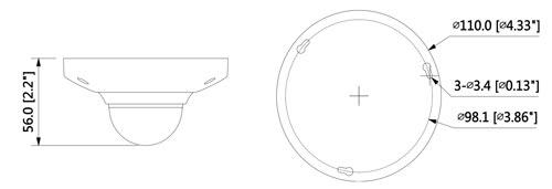 DH-IPC-EB5531 - Wymiary kamery IP Fisheye (mm [cale]).