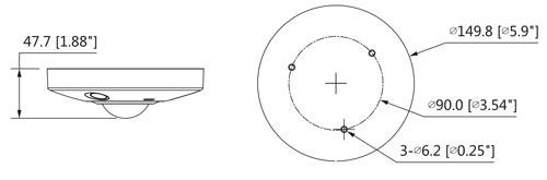 DH-IPC-EBW81230 - Wymiary kamery IP Fisheye (mm [cale]).