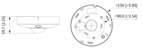 Wymiary kamery Fisheye Dahua podane w milimetrach i calach.