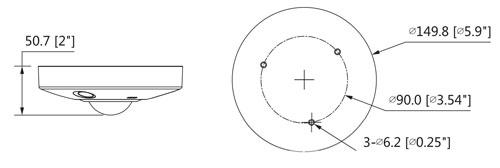 DH-IPC-EBW8630P - Wymiary kamery IP Fisheye (mm [cale]).