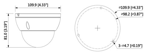 DH-IPC-HDBW1230EP-0280B / DH-IPC-HDBW1230EP-S-0280B - Wymiary kamery megapikselowej (mm [cale]).
