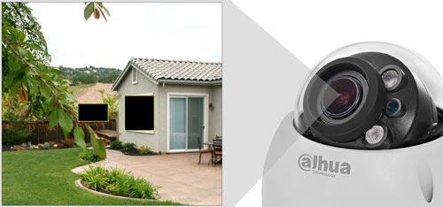 DH-HAC-HDBW2241R-Z-27135 - Przykładowe zastosowanie stref prywatności w kamerze Dahua.