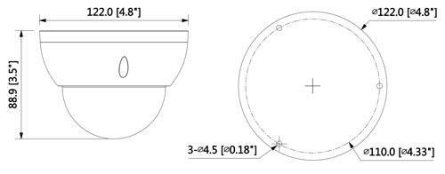 DH-HAC-HDBW2501R-Z-27135 - Wymiary kamery Dahua (mm [cale]).