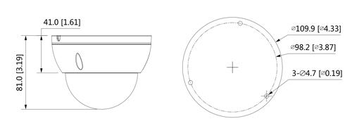 Wymiary kamery IPC Lite AI (mm [cale]).