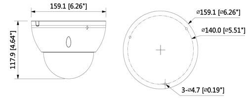 DH-IPC-HDBW5431EP-ZE-27135 - Wymiary kamery megapikselowej (mm [cale]).