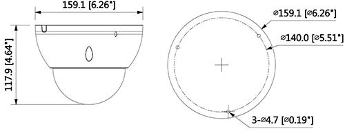 DH-IPC-HDBW81230EP-ZH - Wymiary kamery megapikselowej (mm [cale]).